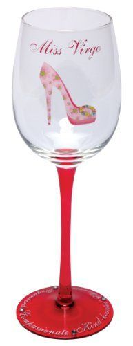 Santa Barbara Design Studio Christopher Vine Design Miss Zodiac Collection Wine Glass with Rhinestones, Miss Virgo by Santa Barbara Design Studio Kitchen. $22.37. 15-Ounce capacity; gentle hand washing recommended. Every glass comes in a sophisticated, coordinating, sturdy reusable gift box. Pink floral print stiletto; miss virgo, red translucent stem with character traits: compassionate and kind-hearted; rhinestone accents. A hip new take on the signs of the zodiac...