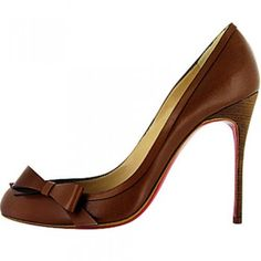 Christian Louboutin Beauty 100 Leather Pumps Coffee Red Bottom Shoes $165.00
