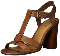 Lauren Ralph Lauren Women's Torie Dress Sandal, Polo Tan Burnished Vachetta, 5 B US. Open-toe dress sandal featuring adjustable-instep strap with logoed-buckle closure. Chunky stacked heel. Cushioned footbed.