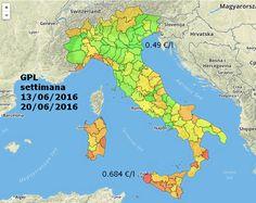 Differenze di prezzo del GPL per autotrazione in Italia.