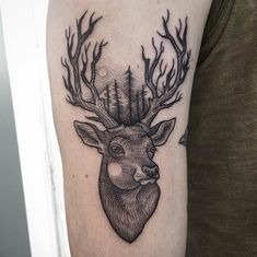 Best Animal Tattoo Designs - Line and dotwork stag tattoo by Surflanda
