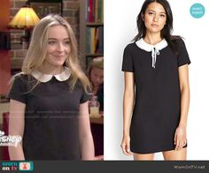 Maya's black dress with white collar on Girl Meets World.  Outfit Details: http://wornontv.net/49919/ #GirlMeetsWorld
