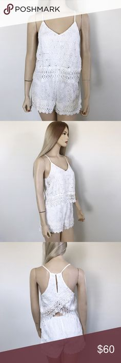 J.O.A Los Angeles Crochet Romper J.O.A Los Angeles Crochet Romper Size: S Length: 35in Bust: 16in  Condition: NWT The perfect summer romper/jumpsuit! Perfect to pair with sandals or heels. Is NWT was originally purchased at Nordstrom for $125 but sadly I haven't lost weight to fit into it. I'd really want this to go to a good home. No stains and no tears. Waist area is very stretchy has an elastic band. Grab this while you can   In Bin: PD **All items from my closet come from a SMOKE FREE…