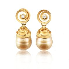 Wish List #425-40 Barbara Heinrich 18k yellow gold golden south sea pearl and diamond earrings at Spectrum Art & Jewelry