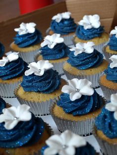 Cornflower And Navy Blue Square Wedding Cake more at Recipins.com