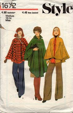 Style 1672 Womens Poncho or Hooded Cape 70s Vintage Sewing Pattern Size MEDIUM 12 - 14 Bust 34 - 36 inches