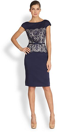 Tadashi Shoji Lace Cap-Sleeve Dress on shopstyle.com