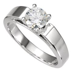 Brilliant Round Cut Flat Band Cathedral Solitaire Engagement Ring in SOLID 14K Gold