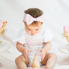 Ice Cream 1st Birthday 1st Birthday Outfit Ice Cream | Etsy First Birthday Shirts, 1st Birthday Outfits, Birthday Parties, Personalized Birthday Shirts, Personalized Baby, Little Baby Girl, Little Babies, Cupcake Party, Cupcake Birthday