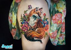 Fox tattoo on thigh illustrations by Darya Sahar - Body Art Red Fox Tattoos, Animal Tattoos, Sexy Tattoos, Unique Tattoos, Body Art Tattoos, Hand Tattoos, Sleeve Tattoos, Cool Tattoos, Tree Tattoos