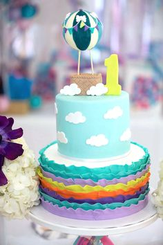 Hot air balloon in the clouds cake from a Hot Air Balloon Birthday Party on Kara's Party Ideas | KarasPartyIdeas.com (27)
