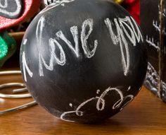 Chalkboard Paint Ball Ornaments  I love this idea!  Via BHG