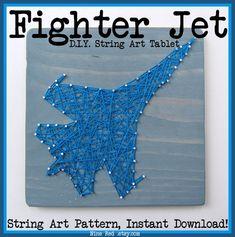 DIY String Art Pattern  Fighter Jet  10.5 x 7 by NineRed on Etsy, $6.00