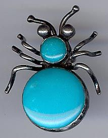 VINTAGE NAVAJO INDIAN TURQUOISE STERLING SILVER BUG PIN