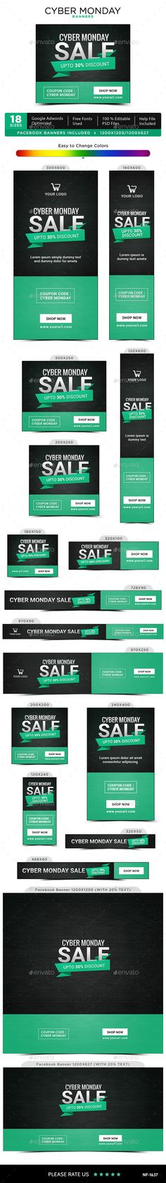 Cyber Monday Banners Design Template - Banners & Ads Web Elements Ads Banner Design Template PSD. Download here: https://graphicriver.net/item/cyber-monday-banners/18902830?ref=yinkira