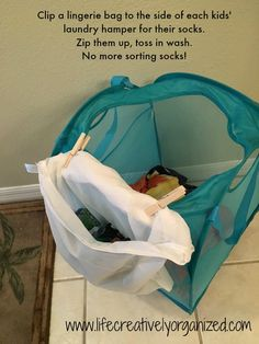10 ways to make doing kids' laundry easier! Use a lingerie bag for each kid to keep socks sorted in laundry.