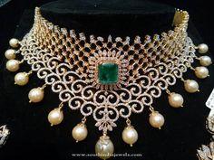 Hyderabad Diamond Jewellery Designs, Hyderabad Diamond Chokers, Hyderabad Diamond Choker Necklace Models.