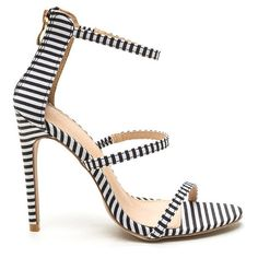 Strappy Life Stripe Heels MULTI ($24) ❤ liked on Polyvore featuring shoes, multi, elastic strap shoes, strappy shoes, ankle strap shoes, stilettos shoes and striped canvas shoes