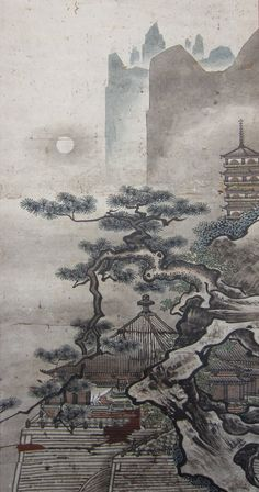 Momoyama Period Landscape Painting Hanging Scroll