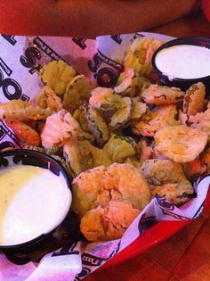 Fried pickles!  If you haven't tried them, you must.  Toot's (in Murfreesboro, TN.