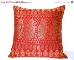 SALE Red Silk Pillow Brocade Pillow Red Gold by TheHomeCorner, $22.40