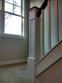 Best White Newel Post Charcoal Stained Handrail White Square 400 x 300