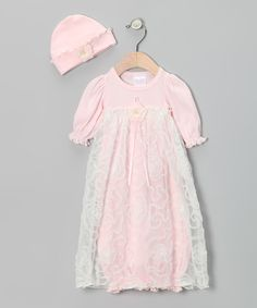 Love this for my next little girls take me home outfit...  Too Sweet Pink & Cream Ruffle Lace Gown & Beanie - Infant