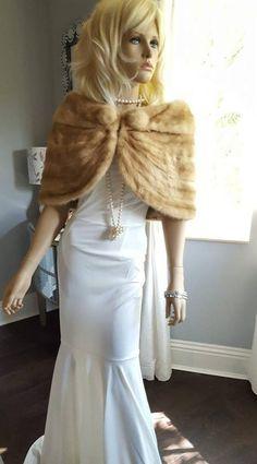 Luxury Vintage Mink Fur Stole -Bridal Fur Shawl - Real Mink Wrap - Fur Capelet - Honey Blonde Fur Cape for Bride - Bolero - Wedding Shrug - Wedding Shrug, Bridal Bolero, Wedding Bride, Rustic Wedding, Wedding Ideas, Elegant Wedding, Wedding Games, Wedding Inspiration, Bridal Cape