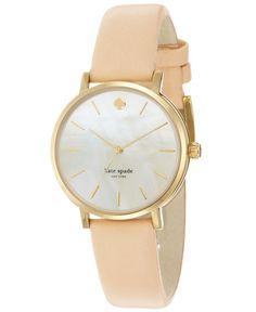 kate spade new york Watch, Women's Metro Pink Vachetta Leather Strap 34mm 1YRU0073 - Kate Spade - Jewelry & Watches - Macy's