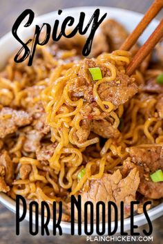 Spicy Pork Noodles - Only 5 ingredients! Pork tenderloin, brown sugar, soy sauce, chili garlic sauce, ramen noodles and green onions for garnish. Top Ramen Recipes, Pork Recipes, Asian Recipes, Chicken Recipes, Cooking Recipes, Pork Dishes, Pasta Dishes, Weeknight Meals, Quick Meals