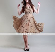 Spring summer chiffon long dress lady women clothing by jadeok, $78.00