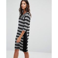 b.Young Multi Strip Shift Dress (3.210 RUB) ❤ liked on Polyvore featuring dresses, grey, round neckline dress, gray shift dress, stripe dress, three quarter sleeve dress and tall shift dress
