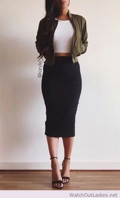 perfect combination bodycon skirt and crop top