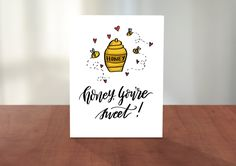 Honey, You're Sweet! Cute Pun Funny Hand Lettered and Illustrated Valentine's Day Card for Husband, Wife, Boyfriend, Girlfriend, Couples by AdventureofLetters on Etsy