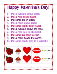 Free! Spatial Concepts: Following Directions (Valentine's Day) Thanks to Ms. Lane's SLP Materials.