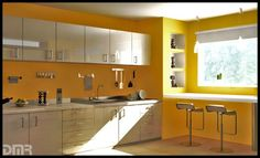 Image detail for -yellow kitchen colors , yellow kitchen design , yellow kitchen ideas . Yellow Kitchen Interior, Yellow Kitchen Designs, Yellow Kitchen Walls, Design Your Kitchen, Kitchen Paint Colors, Home Interior, Interior Design Kitchen, Yellow Walls, Yellow Kitchens