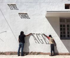 As part of ST+ART street art festival in the Lodhi Art District in India, innovative artist DAKU has created a piece that changes with the sun. Using typography and metal, the artist has made a sundial of sorts that reveals words as the day progresses.  contemporary, design, handmade, industrial design, light, photography, graffiti, timelapse