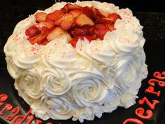 "Strawberry Cake - 8"" vanilla cake covered in vanilla buttercream and topped off with strawberries in an apricot glaze.  TFL"