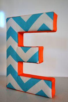 LETTER WALL ART  Fabric Letter E in Blue Chevron by CheekeeMonkeez, $20.00