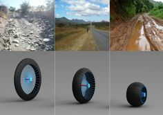 Roadless Wheel : a shape-shifting wheel that can change in size and shape to fit a bevy of vehicles and to adjust to various road conditions.
