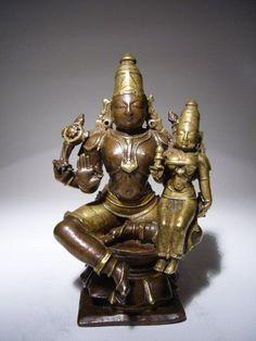 Extremely Rare Indian Bronze Vishnu with Lakshmi