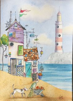 Watercolour beach hut