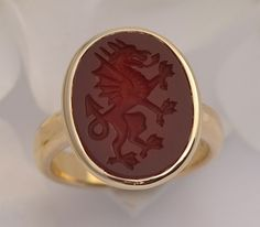 Carnelian Signet Ring with Carved Dragon