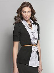 Ruffle front shirt and cardigan 2-in-1 - for extra easy dressing.