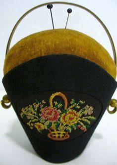 Antique Black Basket Pin Cushion - Brass and Needlework - W. Germany