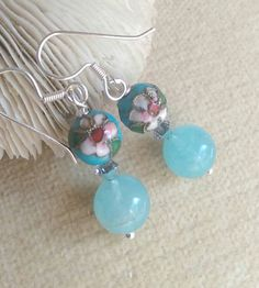 Aquamarine & Cloisonne earrings !Handcrafted with Sterling Silver and twinkling silvery Swarovski crystals! Check out this item in my Etsy shop https://www.etsy.com/listing/466707716/aquamarine-cloisonne-dangle-earrings