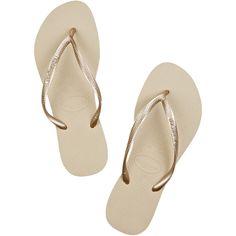 Havaianas Slim rubber flip flops ($31) ❤ liked on Polyvore