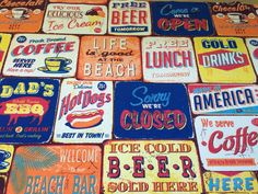 Designer American Diner Dining Food Kitchen Print Curtain Fabric Blinds Cushions | eBay