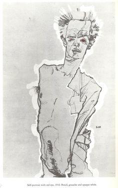 dirtydirtyblonde:  Egon Schiele, Self-portrait with red eye, 1910, pencil, gouache, and opaque white. My absolute FAVORITE drawing ever. at the Neuegalerie in NYC