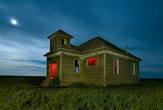 Image: This one-room schoolhouse is one of the simpler ones Kerns spotted on his trip to Kansas. (© Noel Kerns)